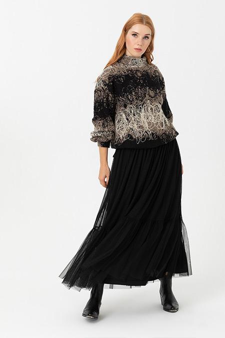 Seçil Siyah Dik Yakalı Maxi Boy Elbise Takım