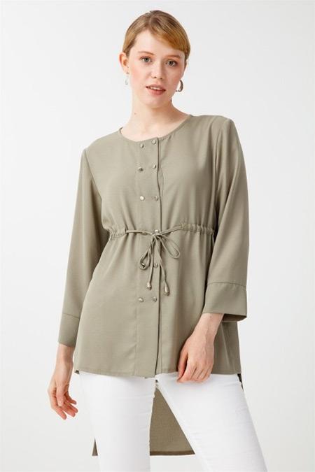 Tığ Triko Yeşil Önü Kısa Bağcıklı Gömlek