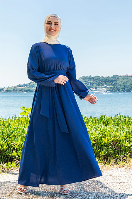 Tavin İndigo Beli Lastikli Kloş Elbise