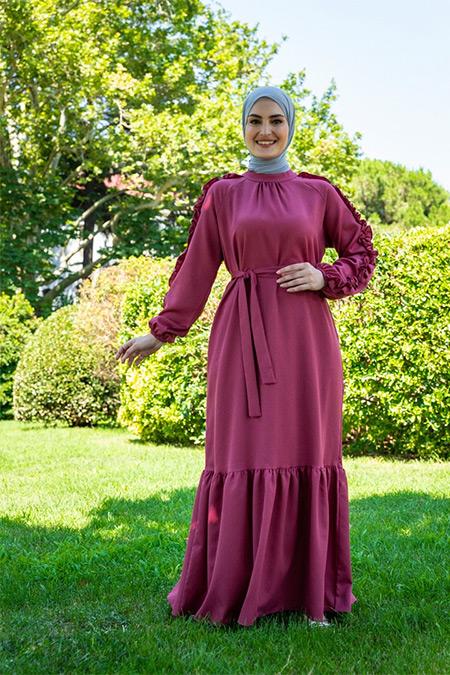 Tavin Koyu Gül Kurusu Kolları Fırfırlı Kuşaklı Elbise