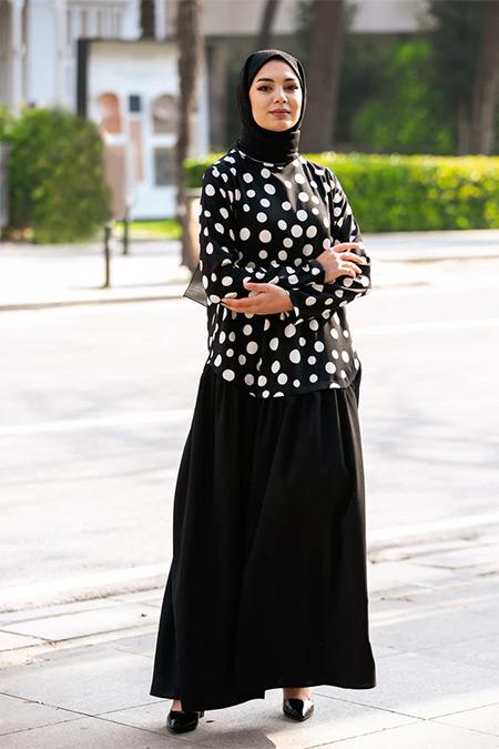 Tavin Siyah Puantiyeli Elbise