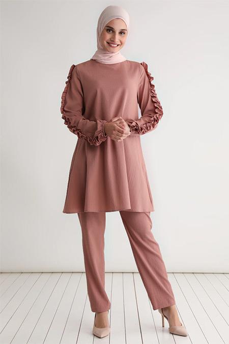 Tavin Soğan Kabuğu Kolları Fırfırlı Tunik&Pantolon İkili Takım