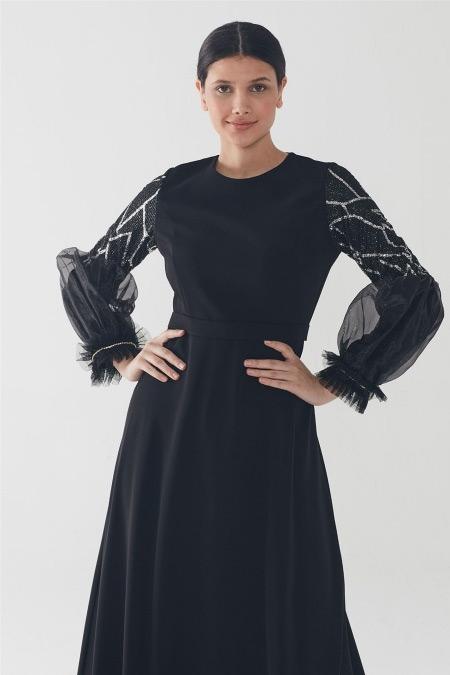 Zühre Siyah-Gümüş Işıltılı Balon Kol Elbise