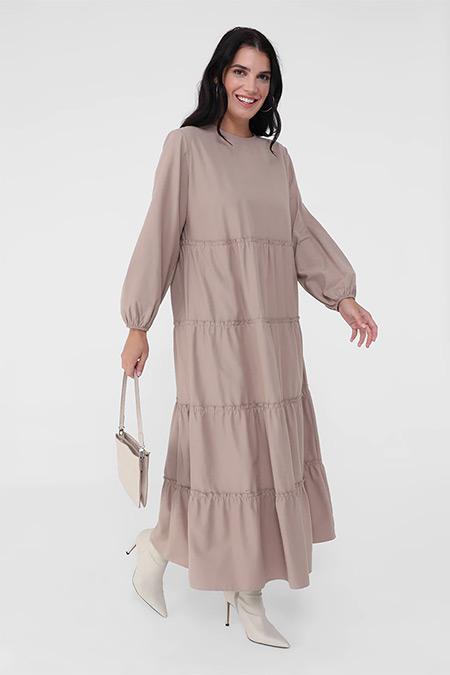 Alia Bej Büyük Beden Pamuk Karışımlı Kol Uçları Lastikli Salaş Elbise