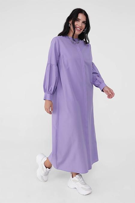 Alia Lila Büyük Beden Pamuk Karışımlı Gizli Düğmeli Elbise