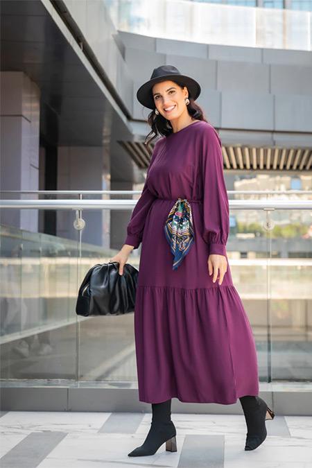 Alia Mürdüm Büyük Beden Viskon Karışımlı Elbise