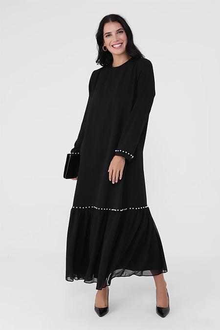 Alia Siyah Büyük Beden İnci Detaylı Elbise