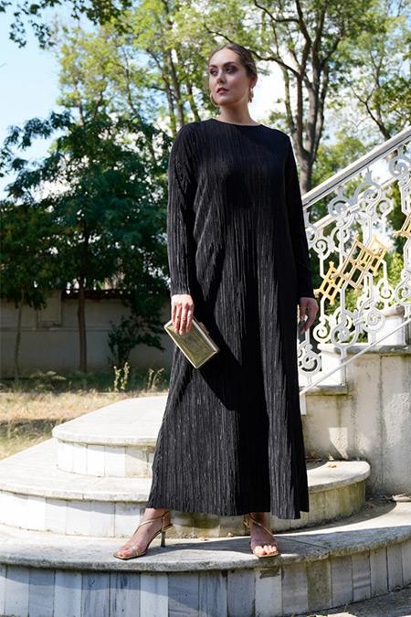 Alia Siyah Büyük Beden Pileli Elbise