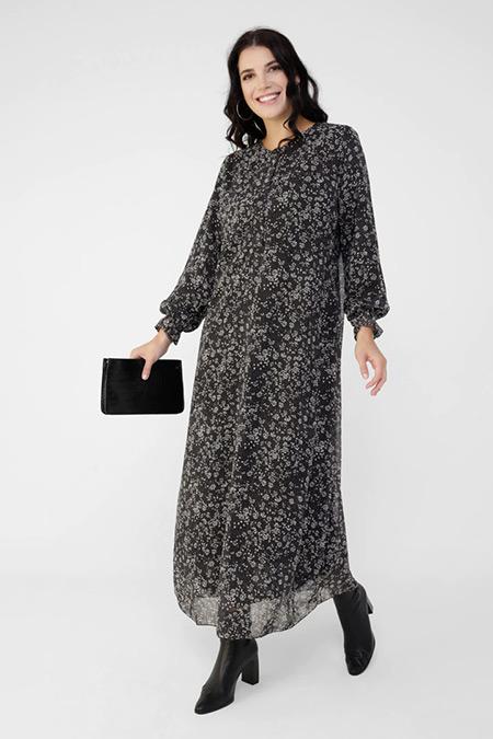 Alia Siyah Beyaz Büyük Beden Desenli Şifon Elbise