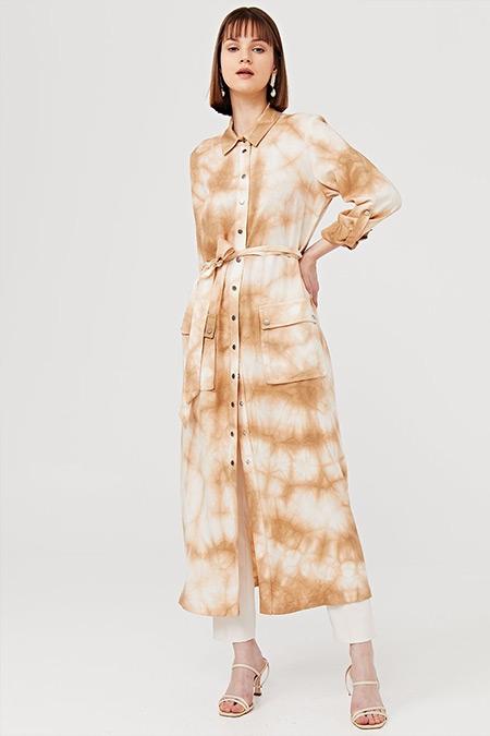 Kayra Camel Kuşaklı Batik Desen Uzun Tunik