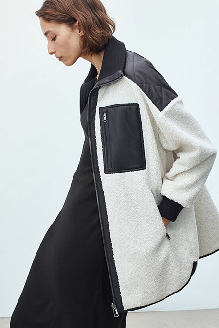 Massimo Dutti Beyaz Siyah Dik Yaka Polar Ceket