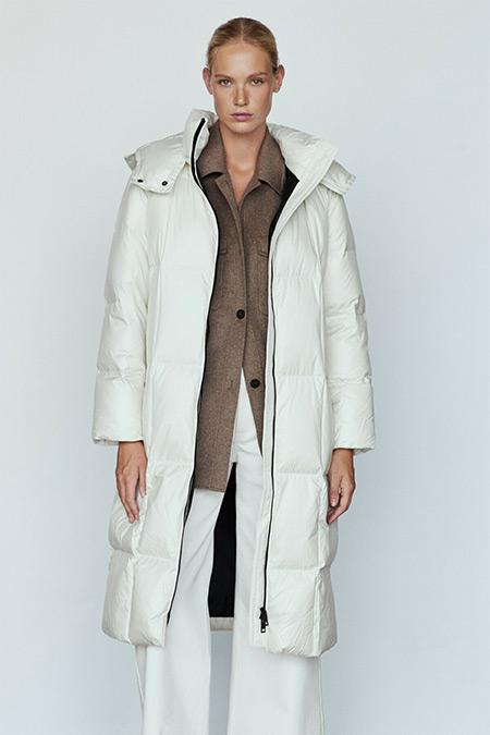 Massimo Dutti Beyaz Uzun Şişme Mont