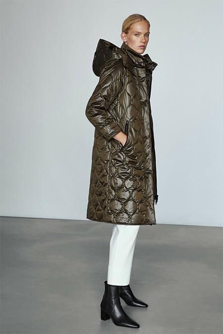 Massimo Dutti Haki Uzun Yastıklı Ceket