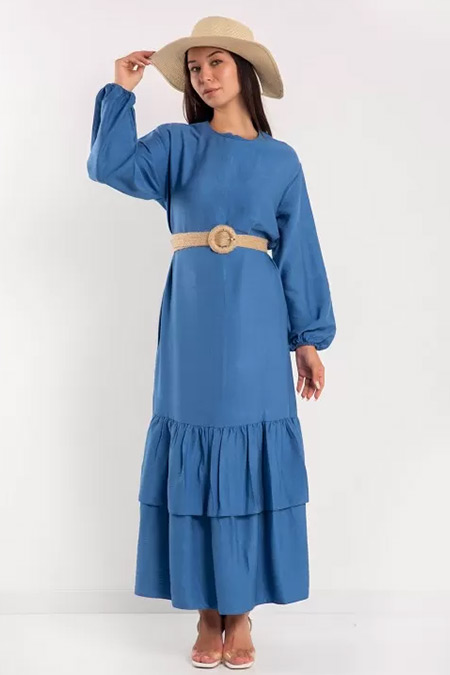 Melike Tatar İndigo Hasır Kemerli Elbise
