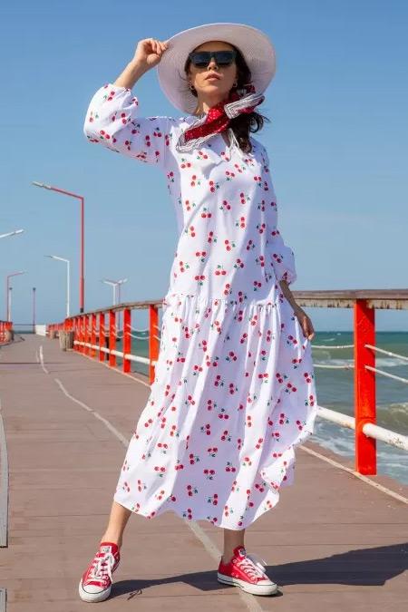 Melike Tatar Beyaz Kiraz Meyve Desenli Elbise