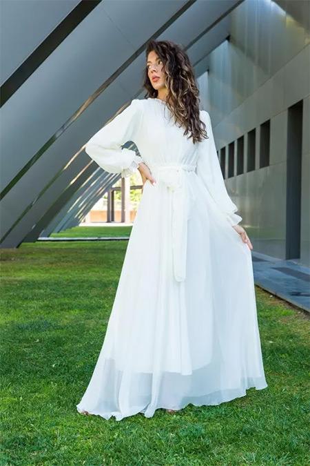 Melike Tatar Ekru Janjan Şifon Elbise