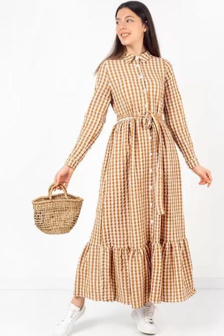 Melike Tatar Kahve Gofra Ekoseli Elbise
