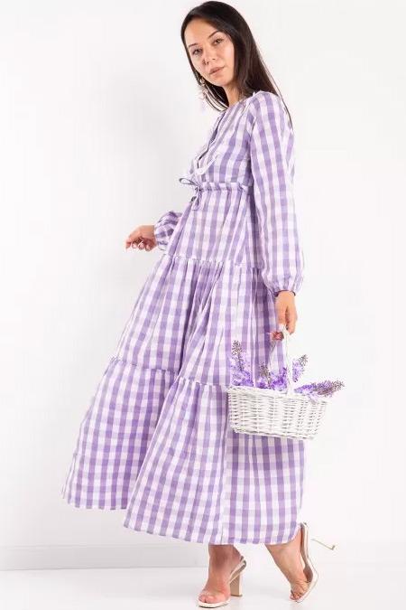 Melike Tatar Lila Önlük Yaka Ekoseli Elbise