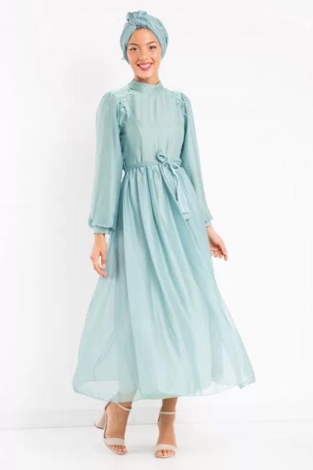 Melike Tatar Mint Tüylü Janjan Şifon Elbise
