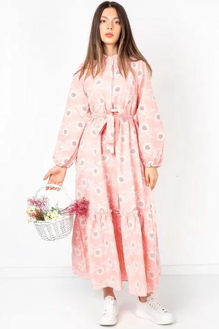 Melike Tatar Pudra Desenli Elbise