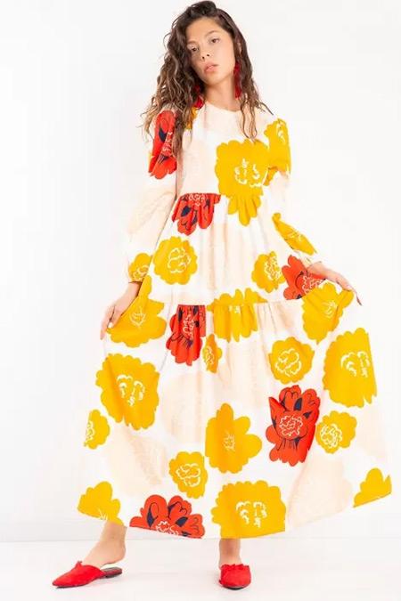 Melike Tatar Turuncu Büyük Çiçekli Elbise