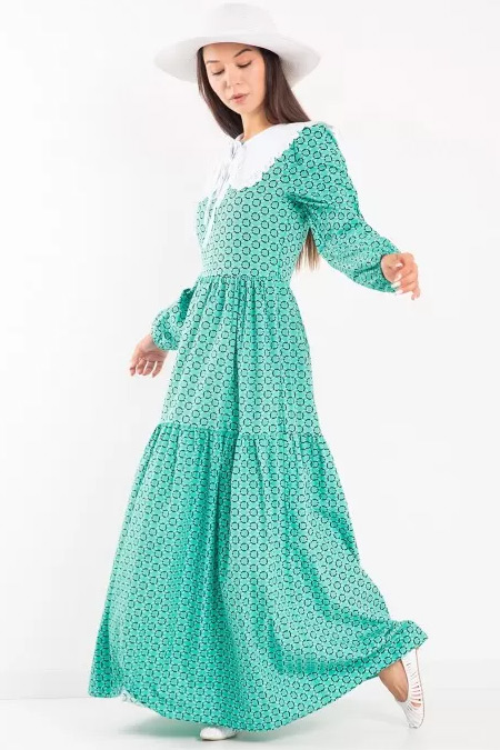 Melike Tatar Yeşil Bebe Yaka Elbise