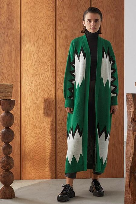Niqozza Triko Yeşil Beyaz Siyah Clair Uzun Hırka