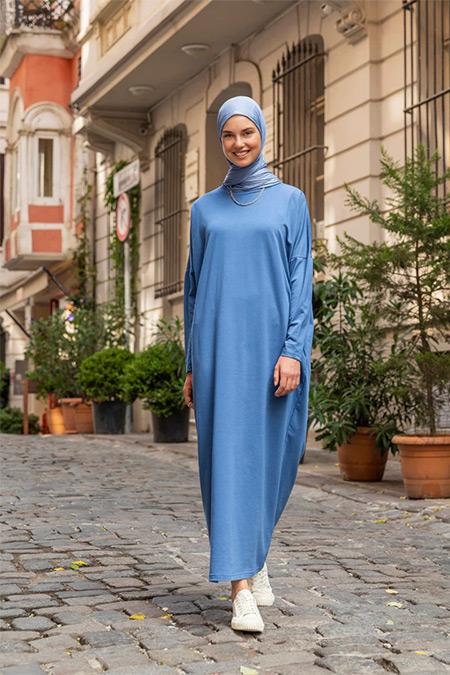 Refka Açık Lacivert Gizli Cep Detaylı Salaş Elbise