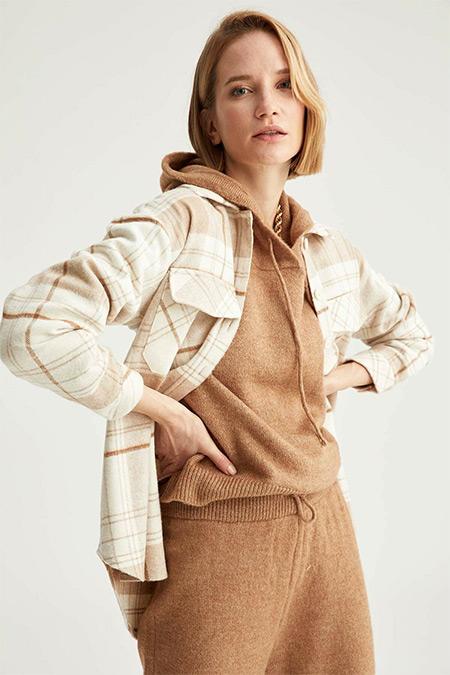 Defacto Kahverengi Retro Ekoseli Oversize Fit Oduncu Gömlek Tunik