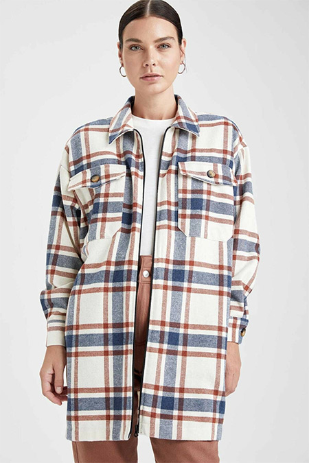 Defacto Kareli Oversize Fit Oduncu Gömlek Tunik