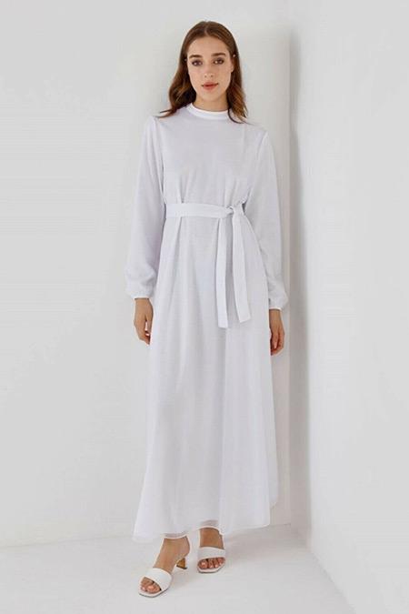 Fahhar Ekru Parıltı Elbise