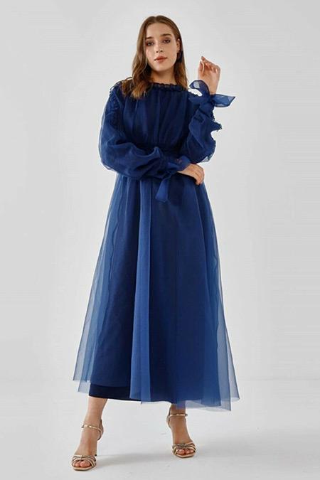 Fahhar Gece Mavisi Büzgülü Tül Elbise
