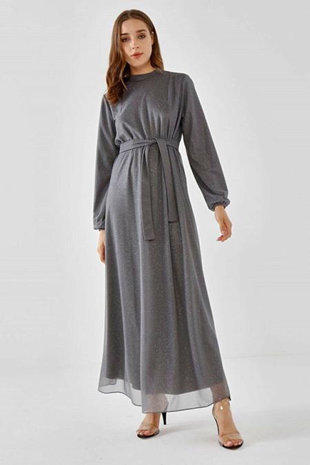 Fahhar Gri Parıltı Elbise