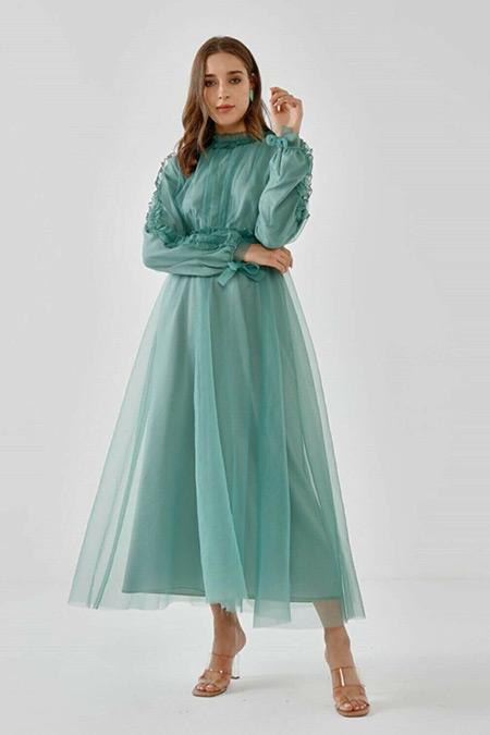Fahhar Mint Büzgülü Tül Elbise