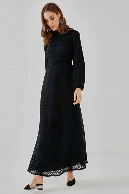Fahhar Siyah Güpür Elbise