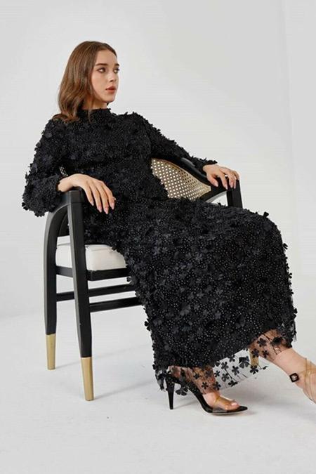 Fahhar Siyah Hacimli Çiçek Elbise