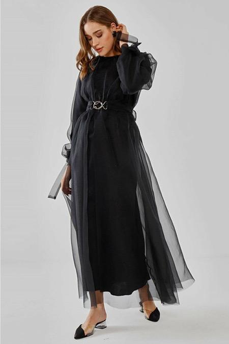 Fahhar Siyah Metal Tokalı Elbise