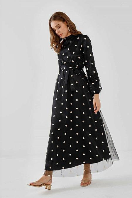 Fahhar Siyah Tül Papatya Elbise