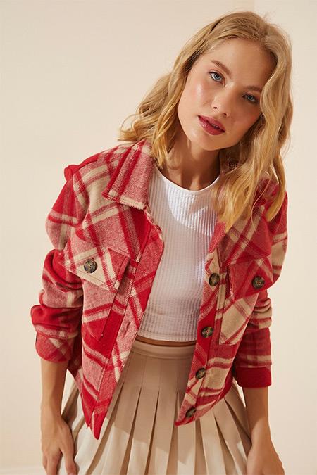 Happiness İst. Açık Kırmızı Kareli Kışlık Kaşe Gömlek Ceket