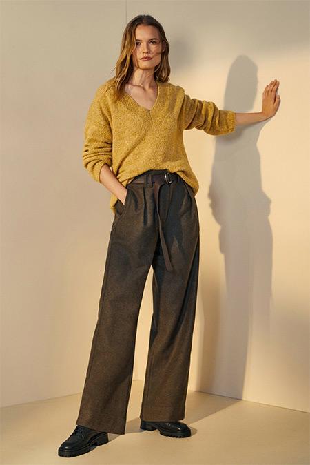 Massimo Dutti Kahverengi Kemerli Pensli Yün Pantolon