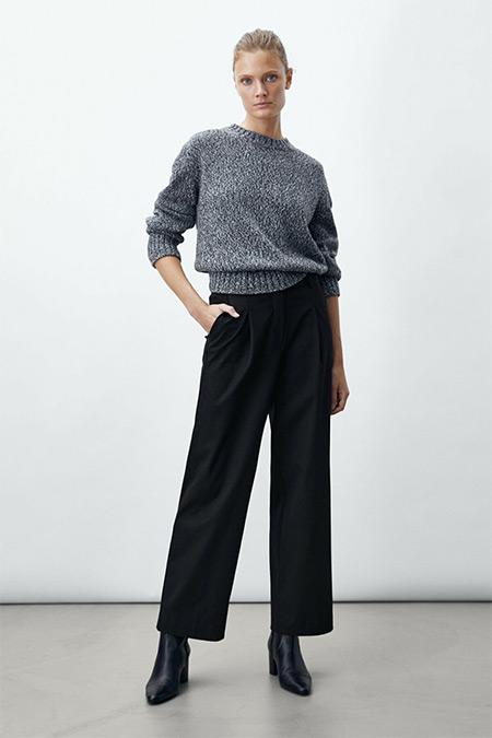 Massimo Dutti Siyah Straight Fit Pensli Pantolon