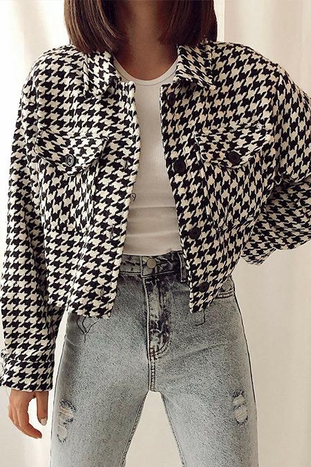 Meltembutik Siyah Kazayağı Desen Ceket
