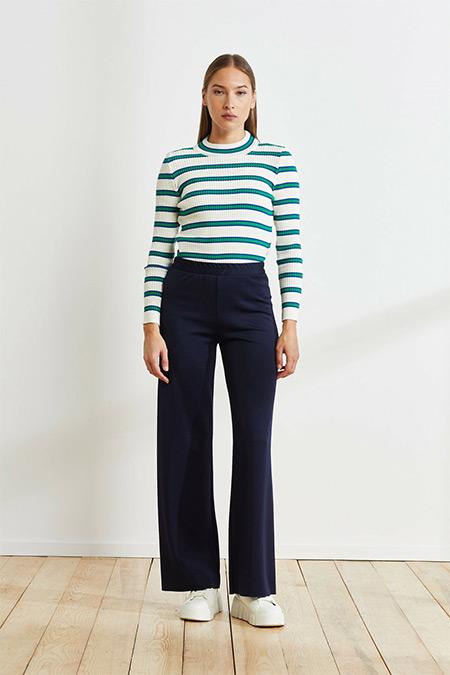 Terzi Dükkanı Lacivert Asel Scuba Bol Pantolon