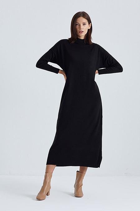 Terzi Dükkanı Siyah Agata Triko Elbise